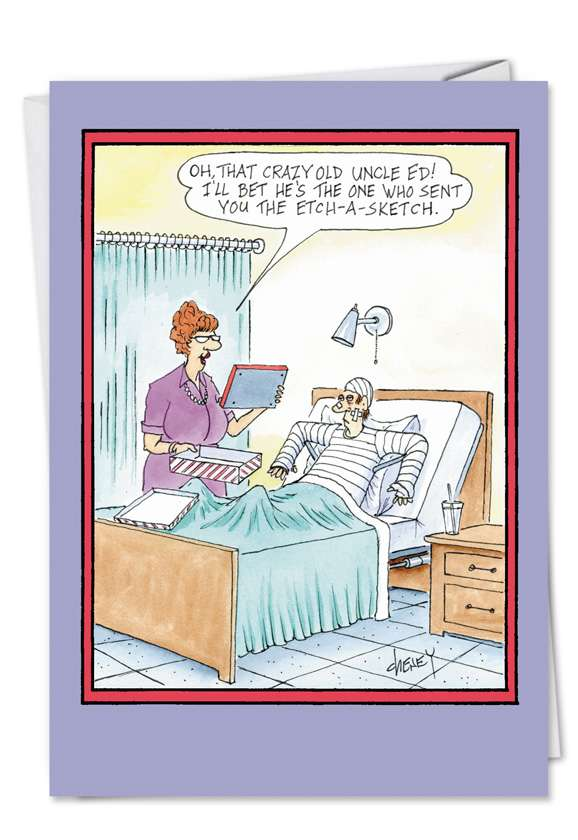 EtchASketch: Hysterical Get Well Printed Card