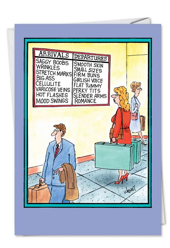 Arrivals Departures: Hilarious Birthday Greeting Card