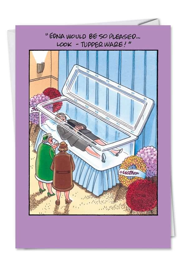 Tupperware Casket: Humorous Birthday Printed Greeting Card