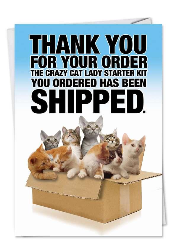 Cat Lady Starter Kit: Hilarious Blank Printed Greeting Card