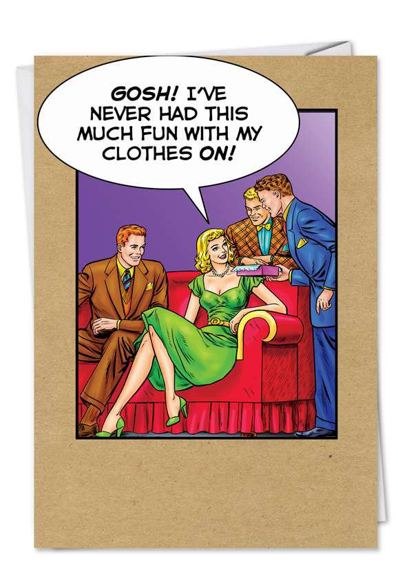 Fun With Clothes On: Funny Thank You Printed Greeting Card