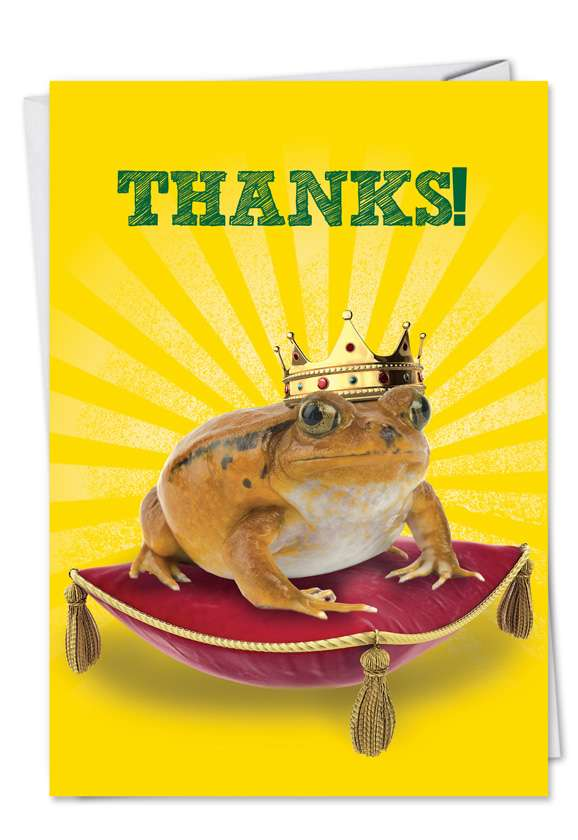 Frog Prince: Funny Thank You Paper Greeting Card