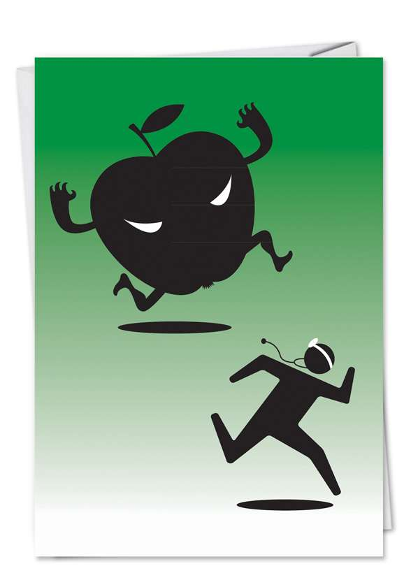 Monster Apple: Funny Get Well Printed Greeting Card