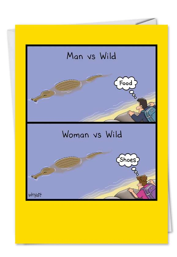 Woman Vs Wild: Hilarious Birthday Printed Card