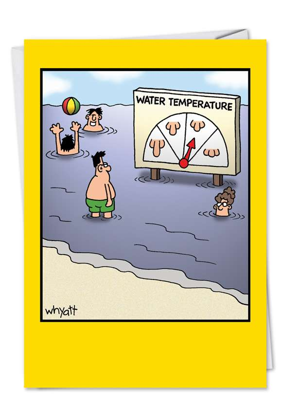 Water Temp: Humorous Birthday Paper Greeting Card