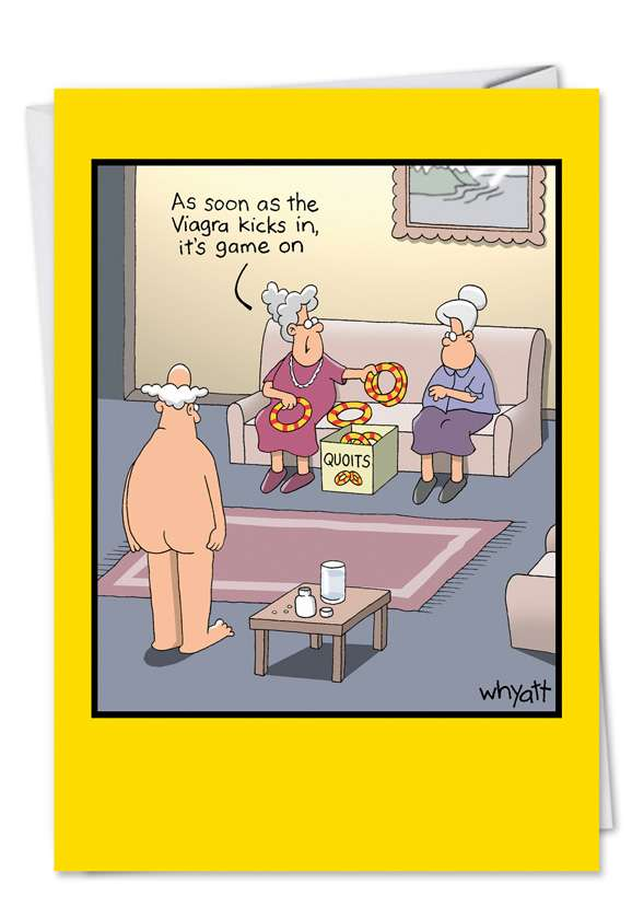 Viagra Kicks In: Funny Blank Greeting Card