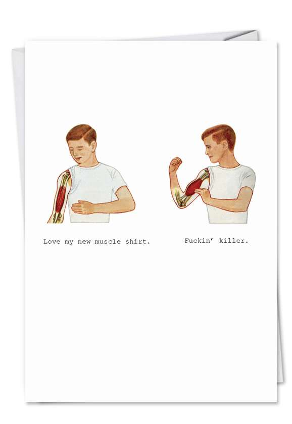 Muscle Shirt: Humorous Birthday Paper Card