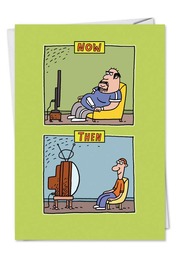 TV Now and Then: Humorous Birthday Printed Card