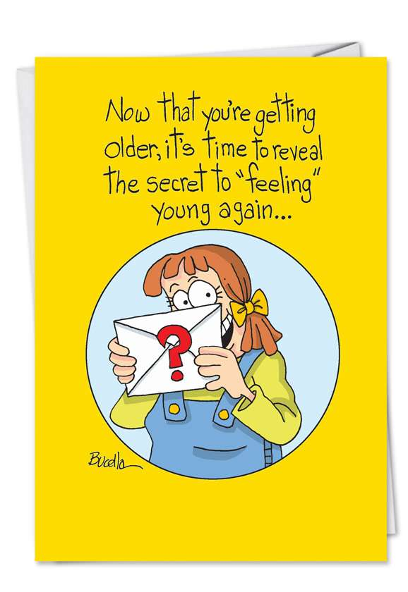 Humorous Birthday Printed Card by Martin Bucella from NobleWorksCards.com - Feeling Young Again