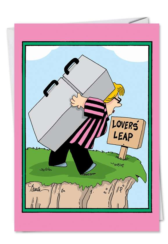 Humorous Birthday Greeting Card by Martin Bucella from NobleWorksCards.com - Lovers Leap