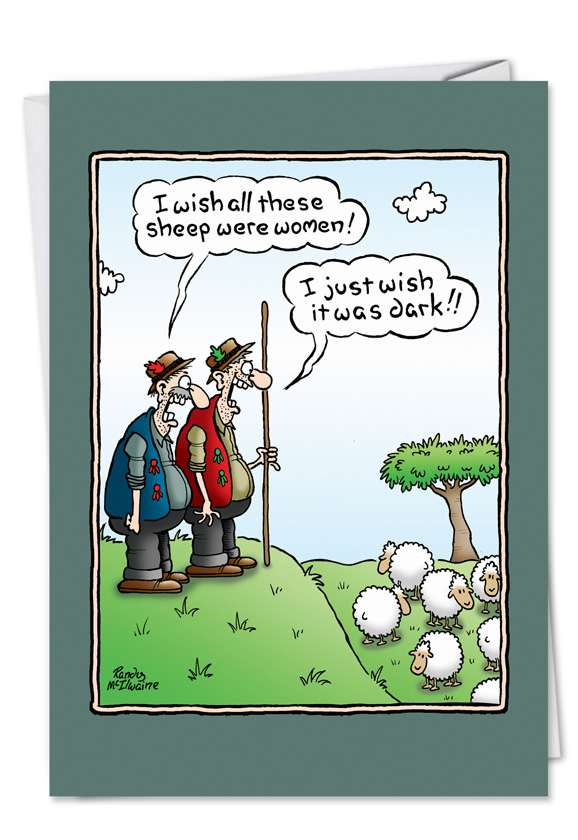Wish Sheep Were Women: Funny Birthday Printed Greeting Card