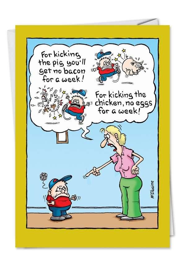 Kicking the Pig: Humorous Birthday Paper Greeting Card