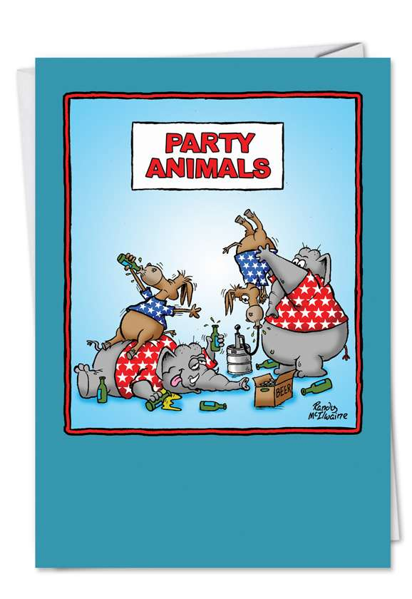 Party Animals: Funny Birthday Paper Greeting Card