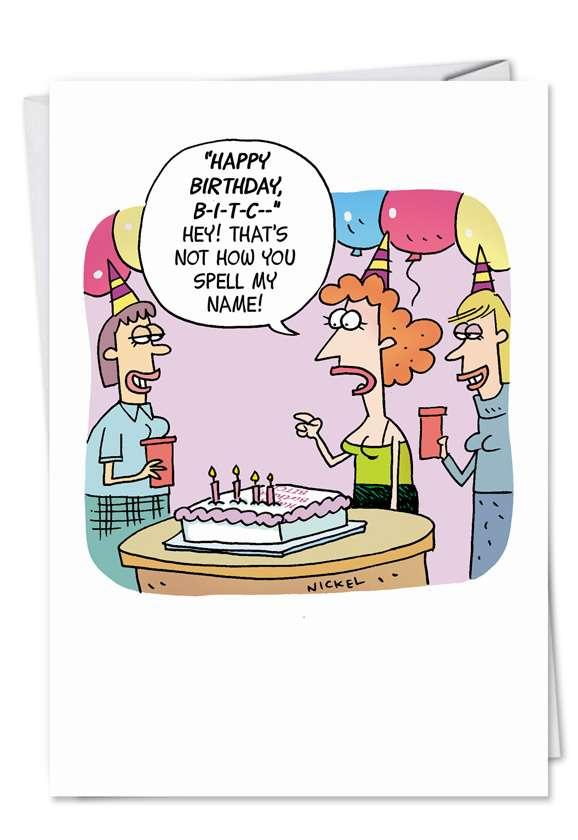 Spell My Name Funny Birthday Card Nickel