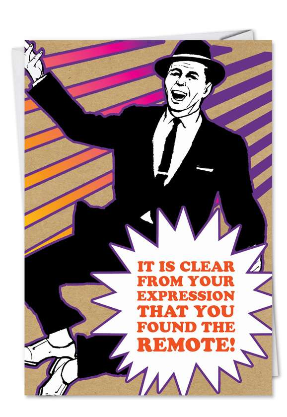 Lost Remote Found: Humorous Birthday Father Greeting Card