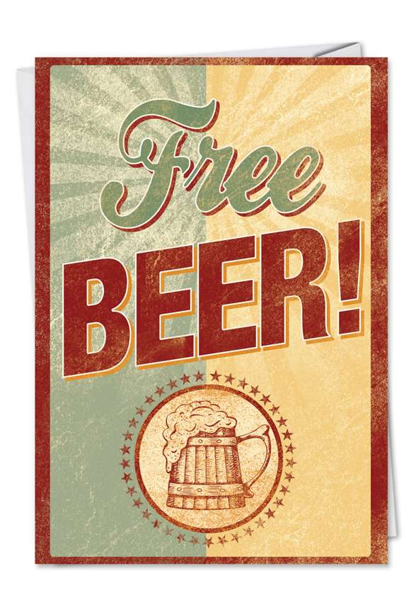 Wishing For Free Beer: Hilarious Birthday Father Paper Greeting Card