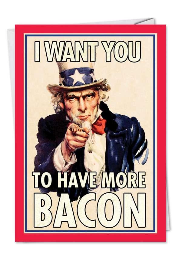 Uncle Sam Bacon Blank Patriotic Pork Poster Photos Card