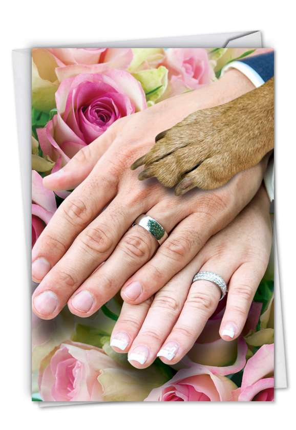 Hands And Dog Paw: Hilarious Wedding Printed Greeting Card