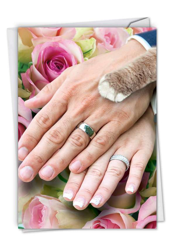 Hands And Cat Paw: Hilarious Wedding Paper Greeting Card
