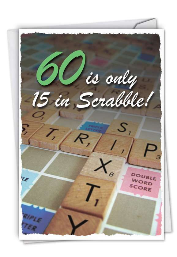 60 in Scrabble: Funny Birthday Printed Card