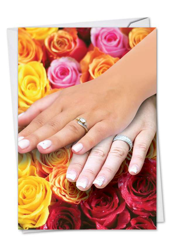 Wedding Hands Woman Woman: Funny Wedding Printed Greeting Card