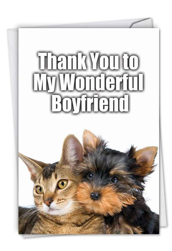 Thank You to My Wonderful Boyfriend: Hilarious Thank You Printed Card