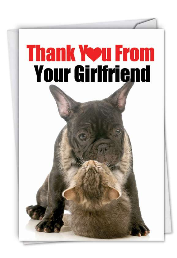 Thank You from Your Girlfriend: Humorous Thank You Greeting Card