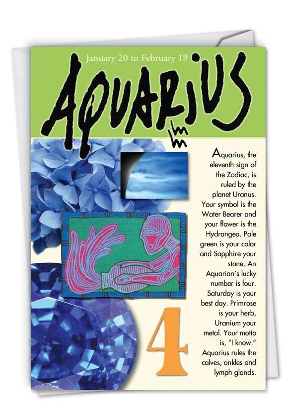 Aquarius: Humorous Birthday Paper Card