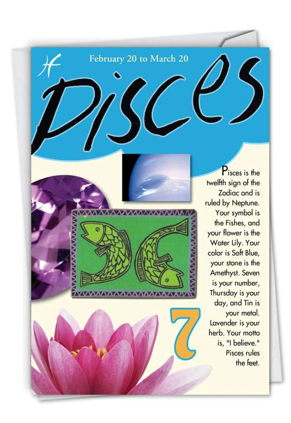 Pisces: Hilarious Birthday Paper Greeting Card