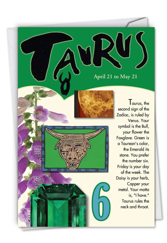 Taurus: Hysterical Birthday Printed Greeting Card