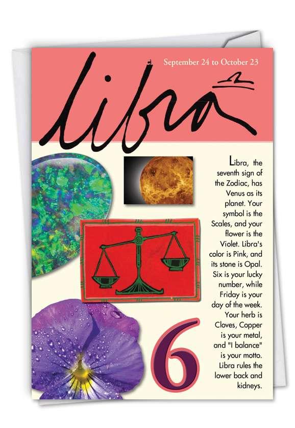 Libra: Humorous Birthday Printed Greeting Card