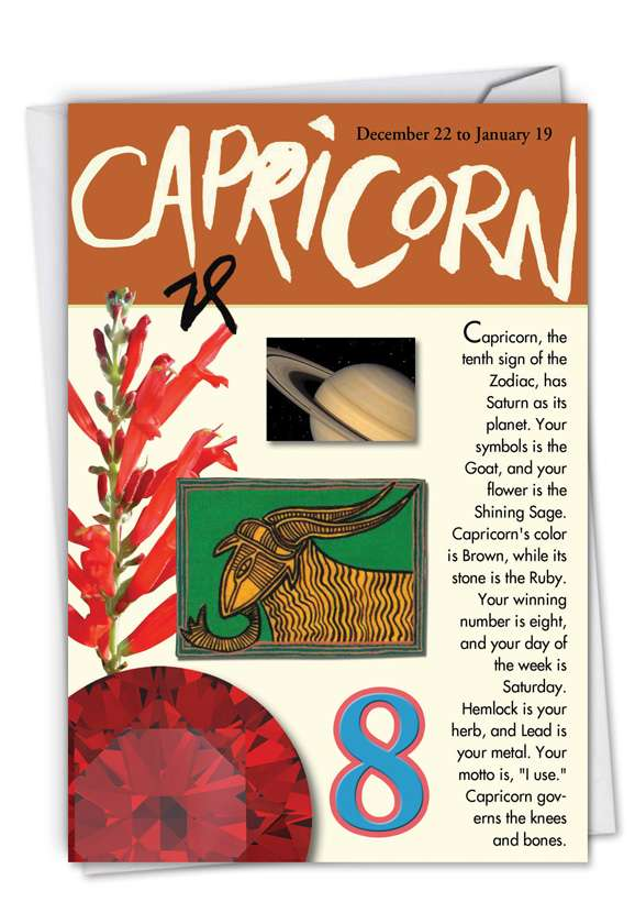 Capricorn: Hysterical Birthday Paper Greeting Card