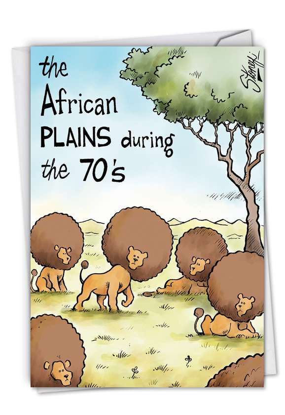 African Plains: Hilarious Birthday Paper Card