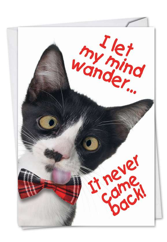 Let My Mind Wander: Funny Birthday Paper Card