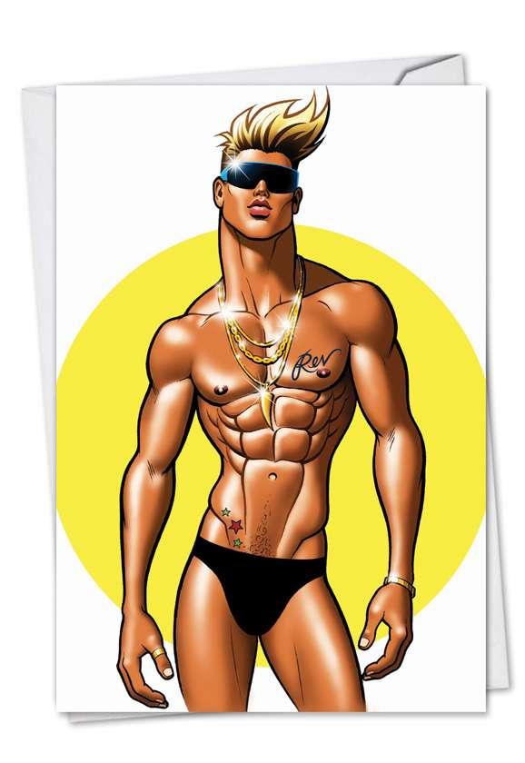 Speedo Boy: Humorous Birthday Paper Greeting Card