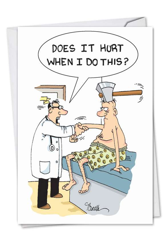 Ax Head: Humorous Get Well Printed Card