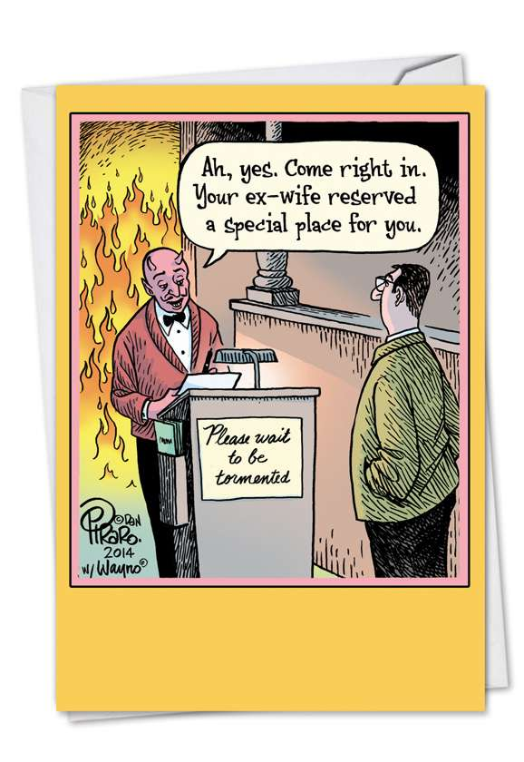 Hell Reservation: Funny Divorce Paper Greeting Card