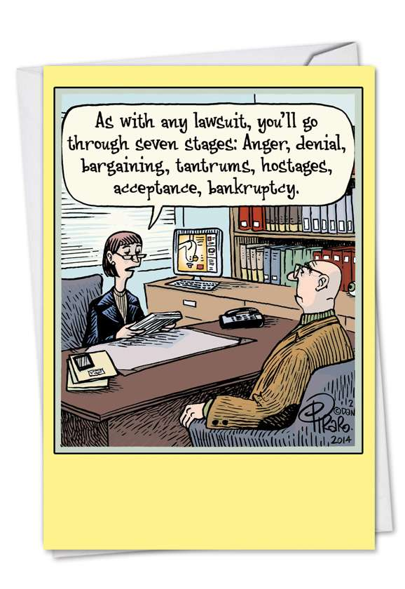 Seven Stages: Humorous Divorce Printed Greeting Card