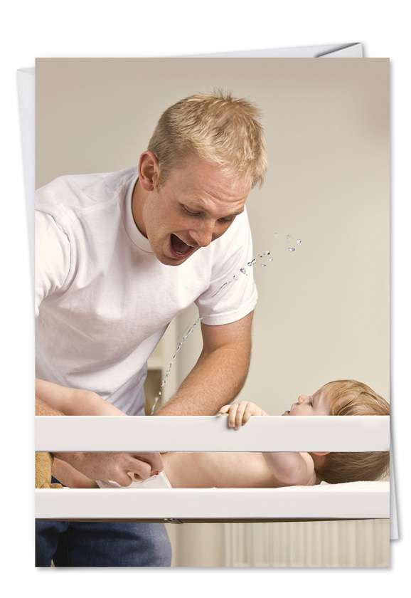 Baby Piss: Humorous Birthday Father Paper Greeting Card