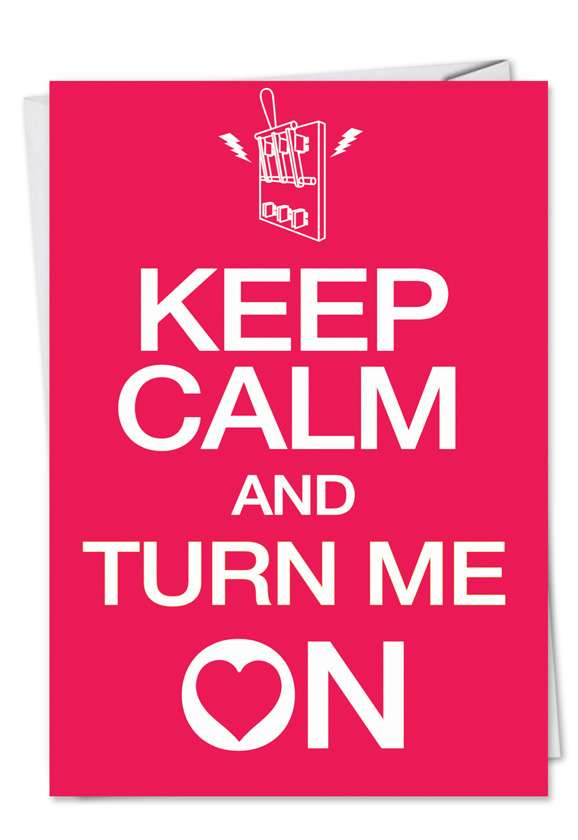 Keep Calm Turn On: Humorous Valentine's Day Paper Greeting Card