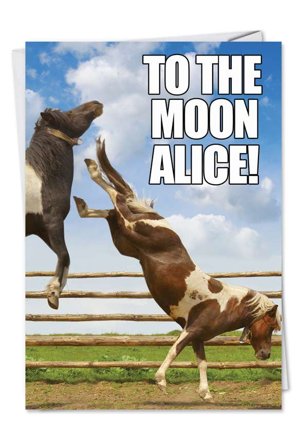 To The Moon: Hysterical Birthday Paper Greeting Card