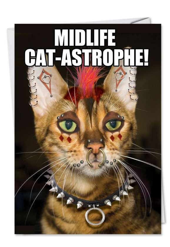 Punk Cat: Hilarious Birthday Paper Card