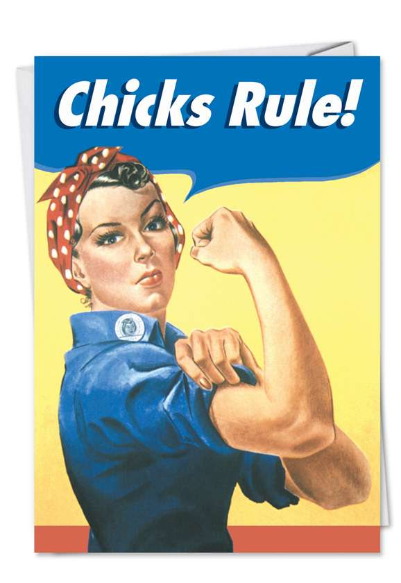 Chicks Rule: Funny Engagement Paper Greeting Card