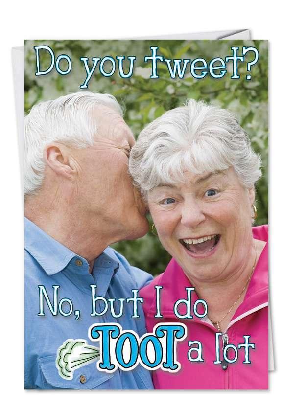 Tweet Toot: Humorous Anniversary Printed Greeting Card