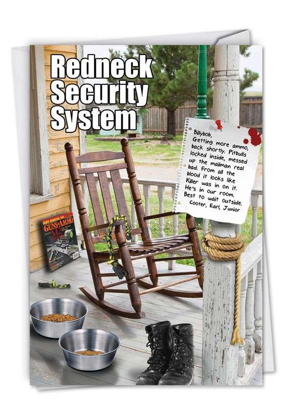 Redneck Security System: Humorous Birthday Printed Card