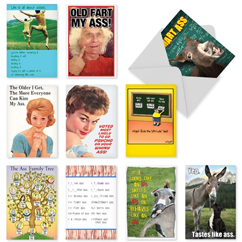 Classy Sassy And Assy: Hilarious Birthday Assorted Set of 10 Cards