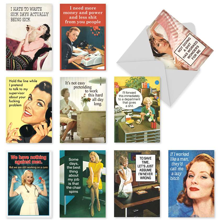 Office Beauties: Hysterical Birthday Assorted Set of 10 Cards