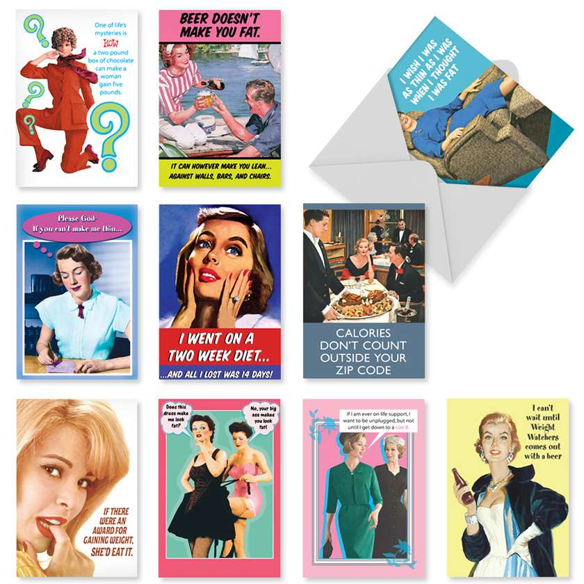 Weight Is Over: Humorous Birthday Assortment of 10 Cards