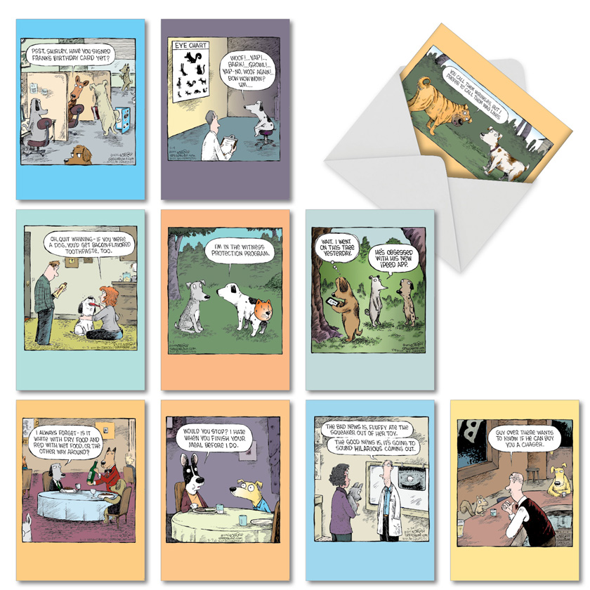 Dave Coverly's Dog Days: Hilarious Birthday Mixed Set of 10 Cards