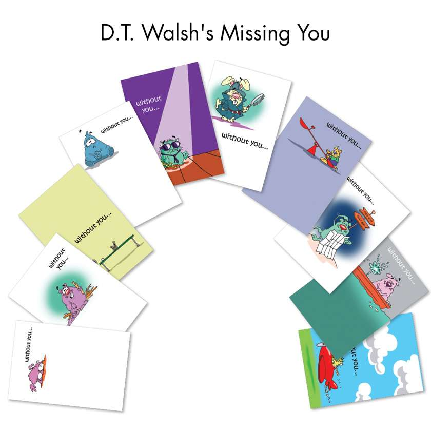 D.T. Walsh's Missing You: Humorous Miss You Assortment of 10 Cards